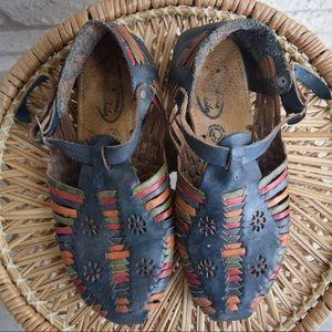 Vintage Multicolored Leather Boho Sandals